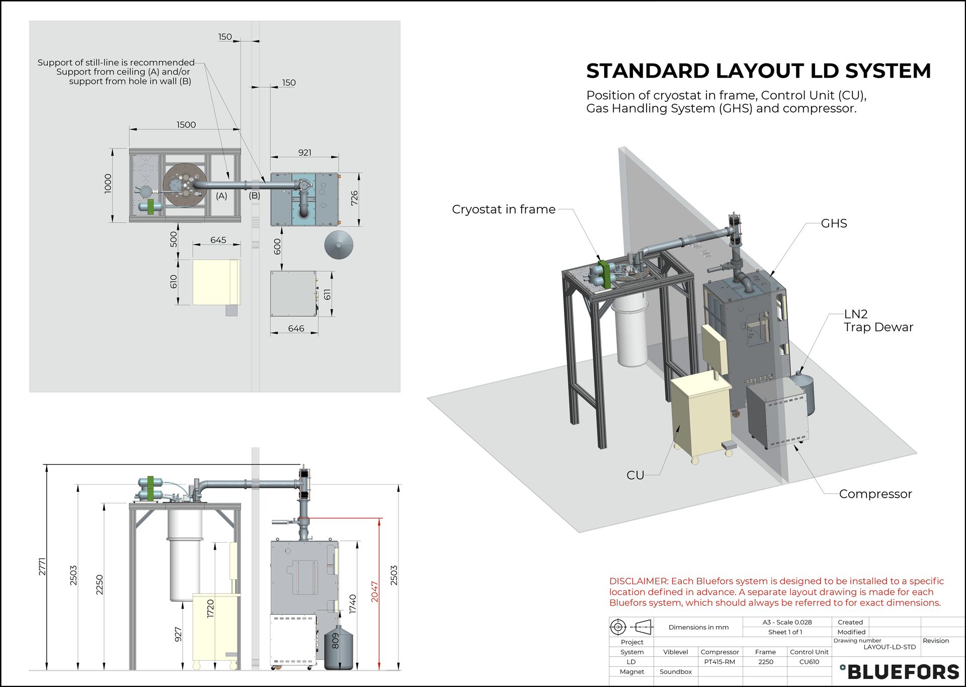 Bluefors dilution refrigerator LAYOUT LD STANDARD 2019