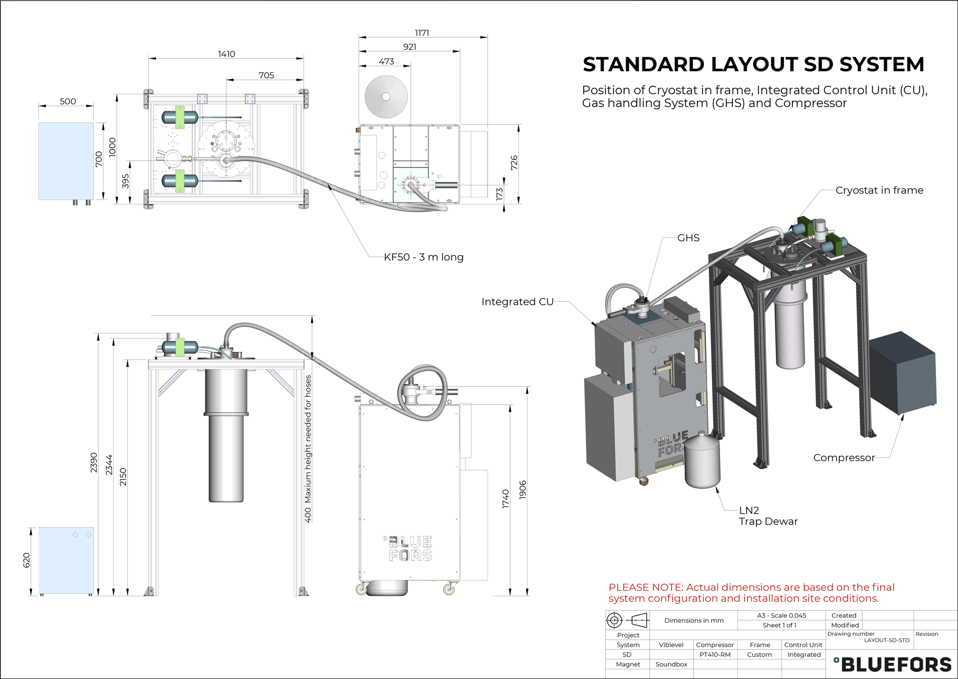 Bluefors dilution refrigerator LAYOUT SD STANDARD 2019